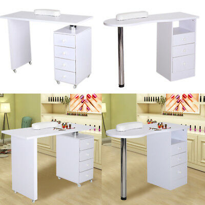 Manicure Nail Bar With Drawers Art Salon Storage Table Station White Desk Beauty