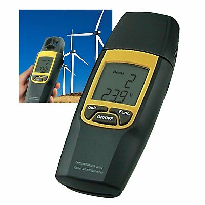 2-in-1 Dual Meter Vane Anemometer Air Speed Temperature Thermometer °C / °F HVAC