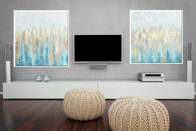 Abstract Blue Hand Oil Painting Picture 80x80cm Framed Home Decor Art Canvas