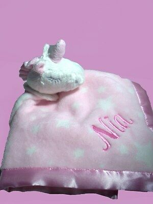 Personalised Baby Comforter Cuddle Blanket Security  Unicorn Any Name  Baby Gift