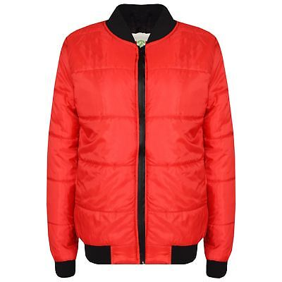 Boys Girls Jackets Kids Red Bomber Padded Quilted Zip Up Biker Jacket MA1 Coats