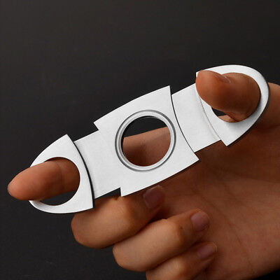 Silver Cigar cutter Stainless Steel Double Blades Pocket Cigar Tobacco Cutter