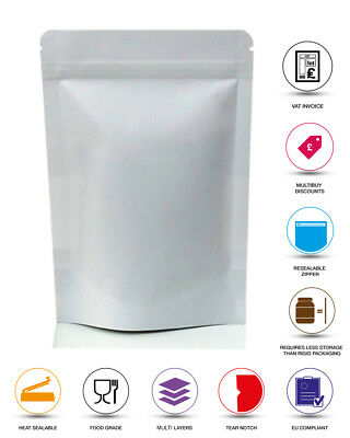 White Paper Stand Up Pouch Kraft Paper Coffee Mylar Pouch Zip Lock Heat Seal Bag