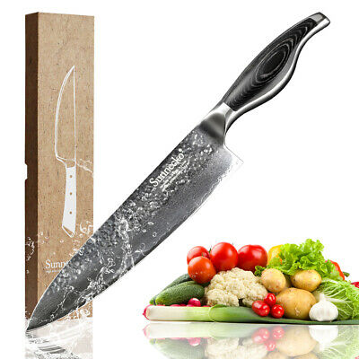8 Inch sharp meat kitchen knife professional wooden handle damascus chef knife