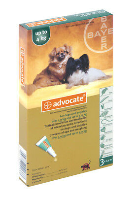Advocate For Dogs Upto 4 kg 0.4 ml 3 tubes Treatment Of Mites In Ear EXP 3/2019