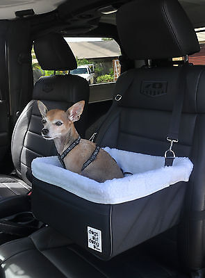 Small Black Dog Car Booster Seat (white lining) - Dogs Out Doing *