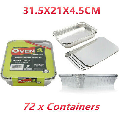 72 x Disposable Foil Tray Takeaway Roasting BBQ Foil Trays Container w/ lid FD