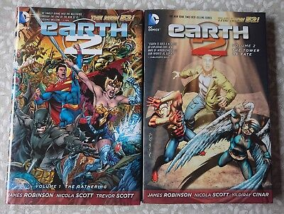 Earth 2 vol 1: Gathering & vol 2: Tower of Fate HC set (New 52, Justice League)