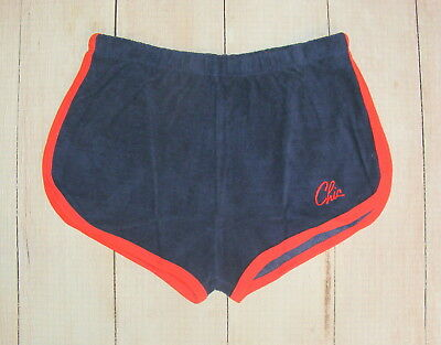 vintage 70s/80s shorts size 10-12 high waist sprinter towelling sports navy/red