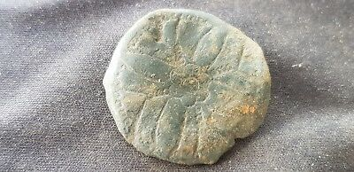 Superb Medieval bronze button stunning rare design, uncleaned, missing loop. L6r