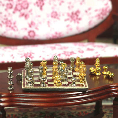 1:12 Metal Chess Set Dollhouse Miniature Nursery Toy Game Study Accessory Gift
