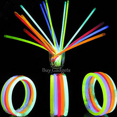 "100 x 8"" GLOW STICKS BRACELETS NECKLACES NEON COLOURS PARTY FAVORS RAVE DISCO"
