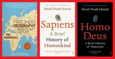Triple Pack Prisoners of Geography Homo Deus & Sapiens New Free Fast UK Post