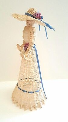 """Vintage Victorian Style Lace Doll Handmade Starched Crochet 15"""" Tall"""