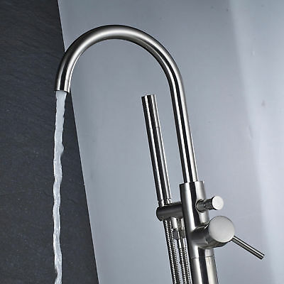 Brushed Nickel Floor Mounted Bathroom Tub Filler  with Hand Shower Free Standing