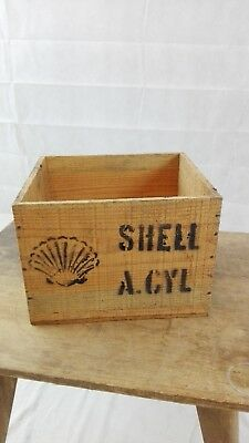 Caisse SHELL A-CYL/bois ancienne/bidon d'huile/collection/old oil can crate