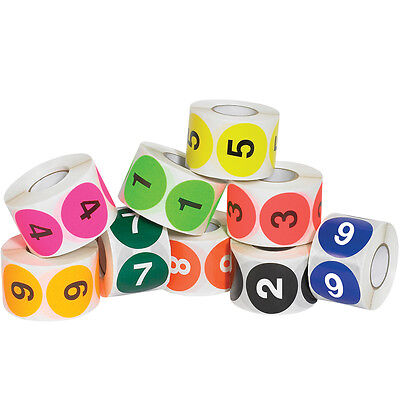 """Tape Logic Easy Order Packs Numbers (1-10) 2"""" Circle Assorted Colors 10/Case"""