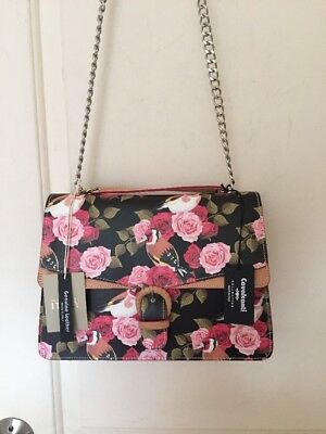 Cavalcanti Made In Italy Leather Crossbody Shoulder Bag Black Rose Nwt