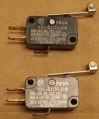 2 new Honeywell mini micro switches V3L-1101-D8 SPDT extension roller 10A 1/3HP