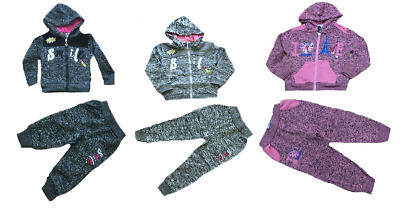 Girl's Fleece Hooded Sports Tracksuit 2 Piece Set Size 1 To 6 Years
