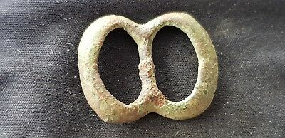 Superb Post Medieval copper alloy buckle L98t