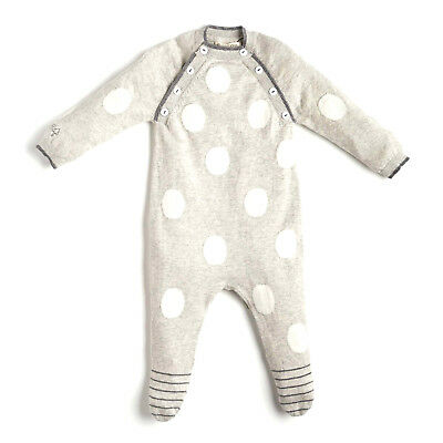 Angel & Rocket Luxury Grey Spotted Momo Knitted Bodysuit 3-6 Months