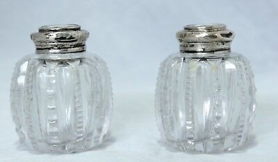 Antique Cut Crystal/Sterling Silver Salt & Pepper Shakers With Pearlite