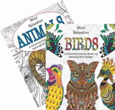 (x2) Adult Colouring Book Animals & Birds A4 Size Colour Therapy, Stress Relief