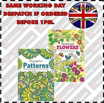 Adult Colouring Book Pattern/FlowerS A4 Size Colour Therapy, Stress Relief 2pk