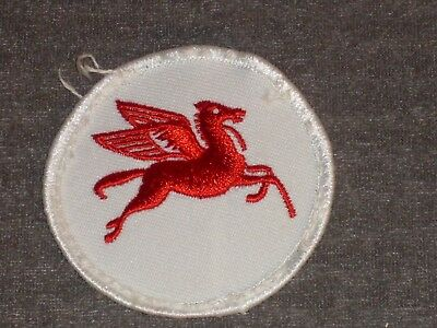 """Vintage Mobil Gas Logo Patch.  Cloth 2 1/2"""" colorful red flying horse on white"""