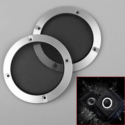 "2pcs 4"" inch Silver Audio Speaker Cover Decorative Circle Metal Mesh Grille"
