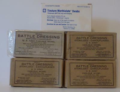 Vintage Lot of 4 New Battle Dressing Camouflaged 1943-1944 and Merthiolate 6/92