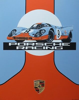 Porsche Racing Vintage Poster- Print on Paper & Canvas Giclee Poster