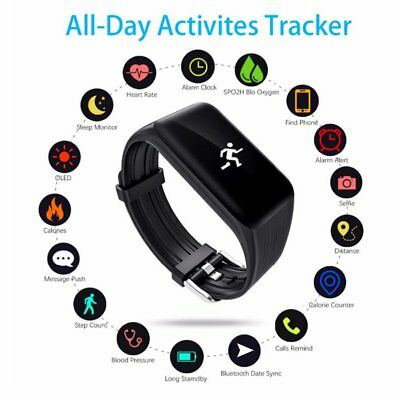 K1 Fitness Tracker Smart Bracelet Heart Rate Monitor Watch For Iphone Android SY