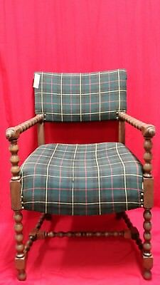 Antique Chair with Barley Twist Type Spindling Wood Green Plaid Upholstery