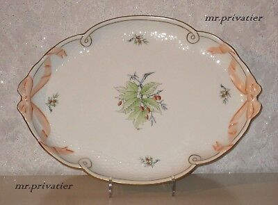 HEREND - HUNGARY Handpainted Rosehip large ribbon serving platter, tray. No.1