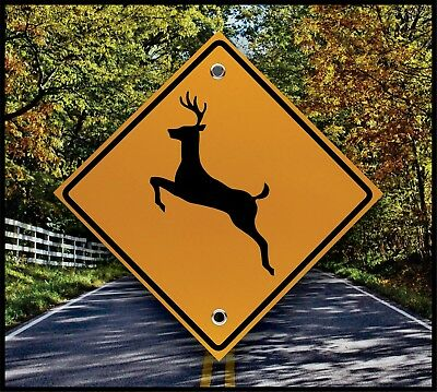 Reflective Deer Crossing Sign  -  Treestand Marker - Hunting Decor - Cabin
