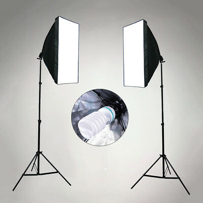 Photography Studio Soft Box Softbox Continuous Lighting 2x135W Light Stand Kit