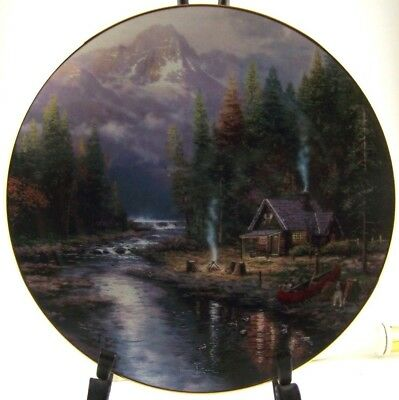 thomas kinkade a quiet night at riverlodge decorative collectable plate