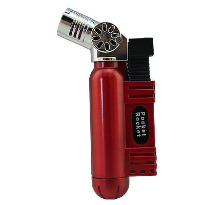 Pocket Rocket Single Jet Flame Butane Cigarette Cigar Torch Lighter - Red