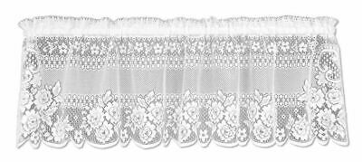 "Victorian Rose White Country Lace Floral Window Valance 60"" x 16"""