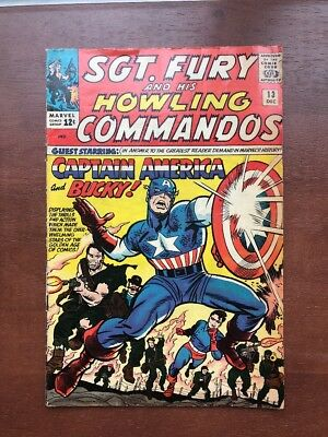 Sgt. Fury #13 (1964) 5.0 VG Captain America App Marvel Key Issue Silver Age