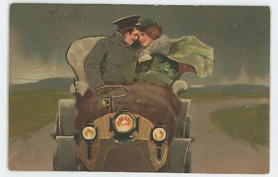 Man and Wife in Old CAR Vintage 1907 Antique Automobile Postcard