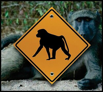 Baboon Crossing  - Reflective Marker - Fun African Decor - Safari Vacation Sign