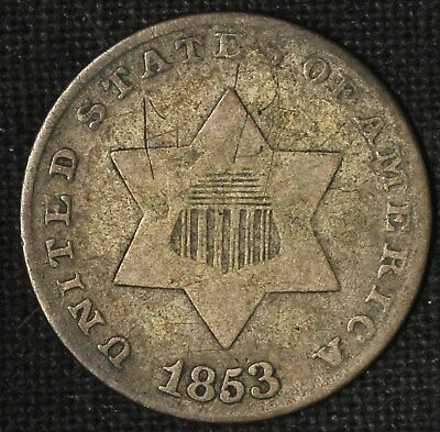 1853 Three-Cent Silver Piece- Free Shipping USA