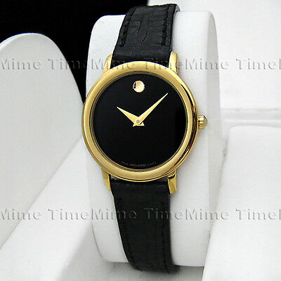 69ba4663d Women's Movado MUSEUM CLASSIC Gold Case Dome Black Dial Leather Swiss Watch