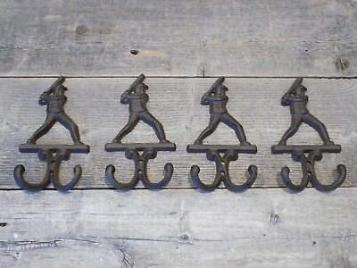 4 BASEBALL Decor HOOKS Coat Hat Wall Rack Rustic Cast Iron Antique Vintage Style