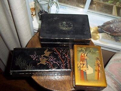 3 Antique Italy Japanese Lacquer Box Birds Pink Trinket Jewelry Pretty Vintage