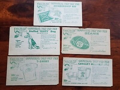 Lot of 4 1956 Nabisco Cereal Rin Tin Tin Trading Post Mail In Premium Coupon