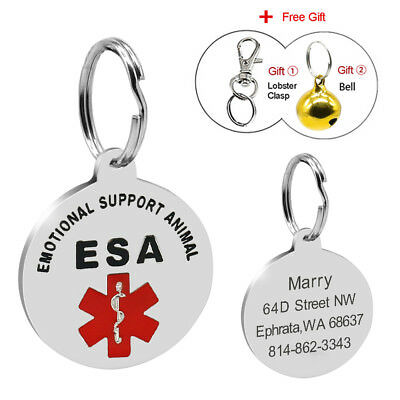 Customized Emotional Support Therapy Dog ID Tag ESA Dog Tags Engraved Free Bell